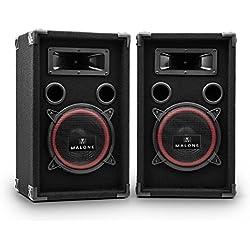 """Malone PA-220-P • Paire de Haut-parleurs • Haut-parleurs 3 Voies • Enceintes passives • Puissance 2 x 500 Watts Max. • Subwoofer de 20 cm (8"""") • Tweeter • Réponse de fréquence: 50 Hz à 20 kHz • Noir"""