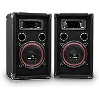 """Malone PA-220-P • PA Lautsprecher Set • 2-Wege Lautsprecher • Passivboxen • 2 x 500 Watt max. Leistung • 8"""" Subwoofer • Bassreflexgehäuse • Piezo-Hochtöner • transporttauglich • schwarz"""