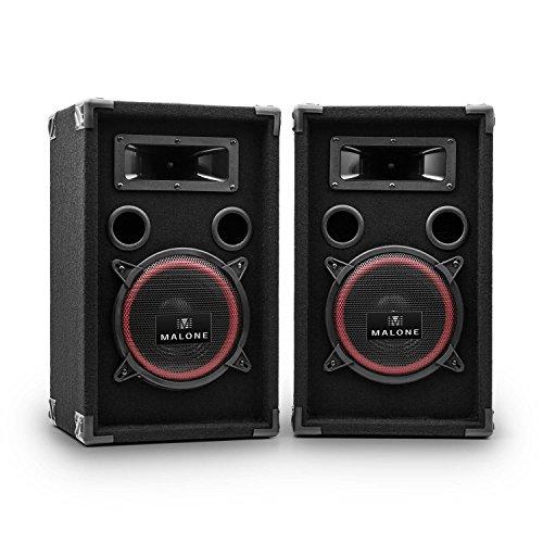 """Malone PA-220-P - PA Lautsprecher Set, 2-Wege Lautsprecher, Passivboxen, 2 x 500 Watt max. Leistung, 8"""" Subwoofer, Bassreflexgehäuse, Piezo-Hochtöner, transporttauglich, schwarz"""