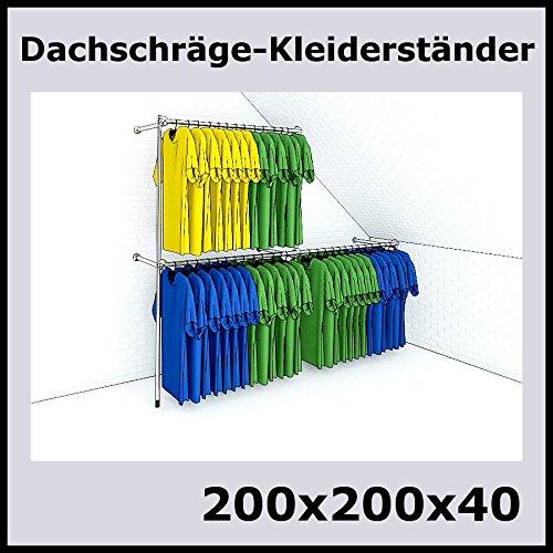 200x200x40 Profi Dachschräge Kleiderständer Dach Stange Metall Silber P200D