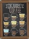 Grindstore Die Anatomie der Kaffee Blechschild 30,5x 40.7cm