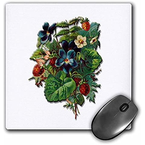 BLN Victorian Fruits and Flowers Collection - Strawberry Plant with Berries and Flowers with Blue Flowers - MousePad