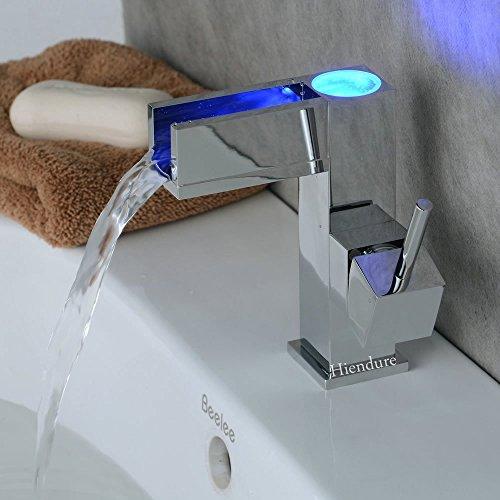 Hiendure®LED Farbewechsel Wasserhahn Chrom Wasserfall Waschtischarmatur Armatur für Bad Badenzimmer Waschbecken