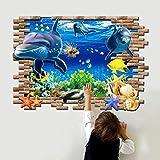 Pegatina Pared Vinilo Decorativo Adhesivo Creativo Decoración Para Hogar Dormitorio Niños 3D Delfín Estrella de Mar Mundo Submarino