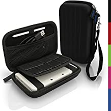 igadgitz Negro EVA Rígida Funda Carcasa para Nuevo Nintendo 3DS XL (Todas las Versiones) & 2DS XL 2017 Viaje Case Cover con Correa
