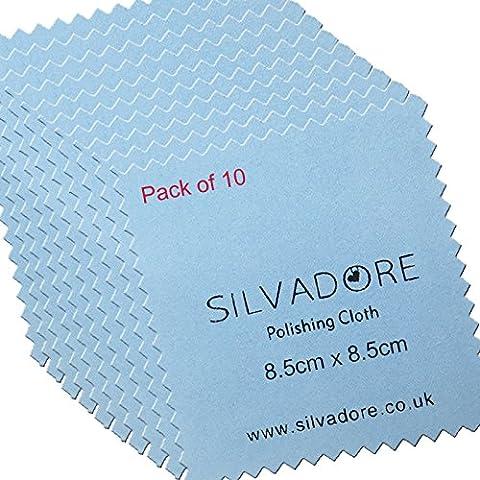 Silvadore Chiffon en microfibre pour le polissage des bijoux en or et en argent-traité avec un produit anti-ternissement, Silver, 8.5cm x 8.5cm - SMALL(PACK OF 2)