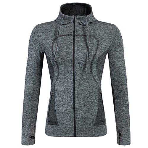 Selighting Giacca Sportiva con Zip per Donne Felpa Vestito Sportivo con Fori per Le Dita per Yoga Fitness Running Escursionismo Montagna Viaggio (L, Grigio)
