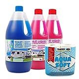 Set Toilettenzusatz für Chemietoiletten, Abwasserbehälter und Spülkasten + 1x Thetford Aquasoft ideal für Wohnwagen, Wohnmobil und Boot