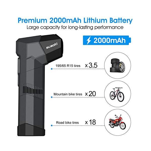 SUAOKI Mini Compresor de Aire portátil batería Recargable, Bomba inflador 120PSI, 2,000mAh 12V, Banco de energía, con 4…