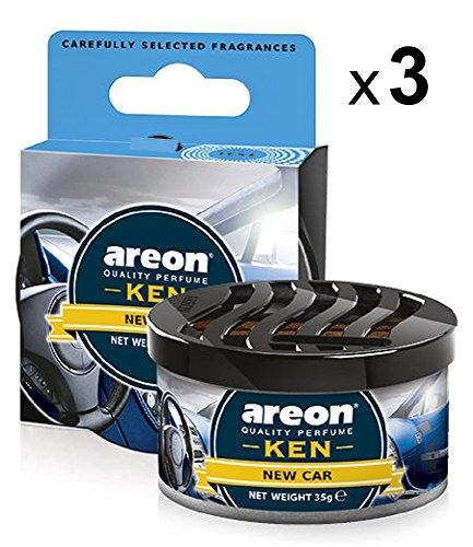 Areon Ken Ambientador de Coche Nuevo New Car Olor Aroma Azul Lata Debajo Asiento Hogar Aire Casa Perfume 3D ( Pack de 3 )