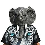 Elefant elephant Kopf Maske mask aus sehr hochwertigen Latex Material mit Öffnungen an Augen Halloween Karneval Fasching Kostüm Verkleidung für Erwachsene Männer und Frauen Damen Herren gruselig Grusel Zombie Monster Dämon Horror Party