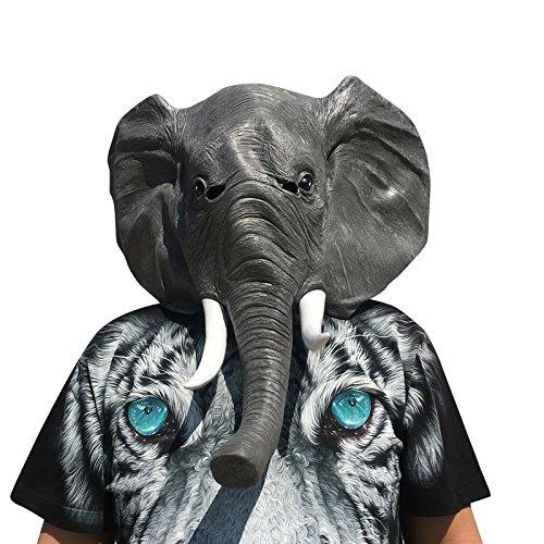 thematys Elefant Maske - perfekt für Fasching, Karneval & Halloween - Kostüm für Erwachsene - Latex, Unisex Einheitsgröße