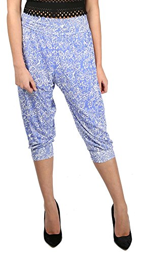 Be jealous geblümte femme leggings 3/4 pantalon harem loisirs ali baba legging court floral bleu crème