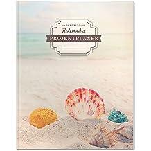 DÉKOKIND Projekt Planer | DIN A4, 100+ Seiten, Register, Kontakte, Vintage Softcover | Für über 50 Projekte geeignet| Motiv: Beach Dreams