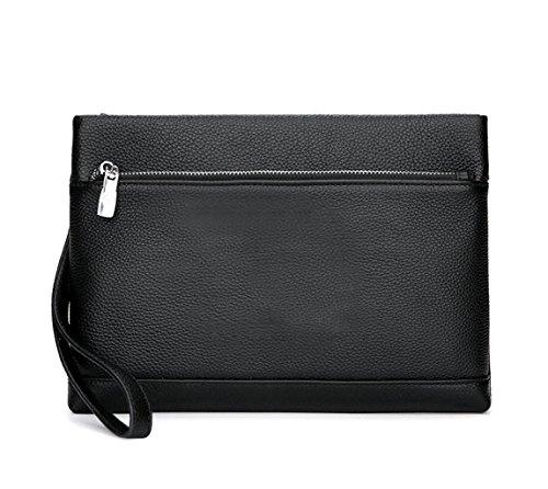 Herren Leder Umschlagtasche Business Clutch Bag Große Kapazität Wallet (Farbe : SCHWARZ, größe : Größe)