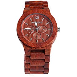 BS® Handmade Retro Wooden Wristwatch Natural Red Sandalwood With Day Date Function Wood Bracelet Watch BNS-160C