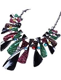 QIYUN.Z Colorido Arco Esmalte Rhinestone Babero Graduo Collar De Cadena Lavaliere