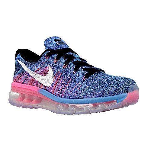 Nike Wmns Flyknit Max, Scarpe da Corsa Donna Black/White-blue Glow-racer Blue