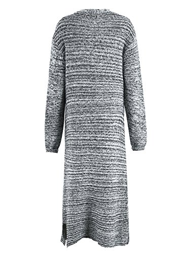 vêtements à manches longues simplee femmes knitteed cable poche avant ouvert cardigan robe Light Gris