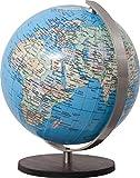 COLUMBUS DUO: Miniglobus, politisch, unbeleuchtet, 12 cm Durchmesser, handkaschiert, Holzfuß braun, Meridian edelstahl