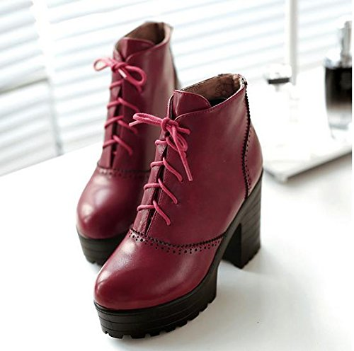 &ZHOU Bottes d'automne et d'hiver Bottes courtes pour femmes adultes Martin bottes bottes Chevalier A3-5 Red