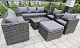 Yakoe 51014 New Conservatory Rattan Garden Furniture Sofa Table Stool Chairs Set - Grey