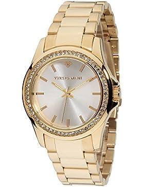 Yves Camani Damen-Armbanduhr Montpellier mit goldenem Edelstahlgehäuse und Steinbesetzer Lünette. Klassische Quarz...