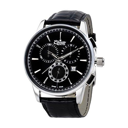 M.Conte Herren-Armbanduhr Chronograph Quarz Leder Schwarz Silber Swiss Made Conte-Viareggio-bl