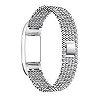 For Fitbit Charge 2 Strap Band, Rosa Schleife Fitbit Fitness Wristband Five Round Beads Design Smart Watch Stainless Steel Adjustable Replacement Accessory Sport Wrist Band Strap Clasp Link Bracelet Wrist Straps with Metal Connectors Adapter for Fitbit Ch