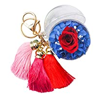A-szcxtop Preserved Fresh Flower With Three Tassels Keychain Handbag and Purse Pendant, for Birthday, Mother