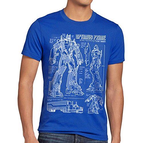 Herren T-Shirt Blaupause Autobot, Größe:M, Farbe:Blau ()