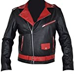 Coolhides Men's Akira Black and Red Kaneda Real Leather Jacket X-Small Faux Red