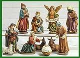Idea Natale: Presepe natività composto da 11 statue grandi soggetti in resina decorata alte fino a 20 Centimetri