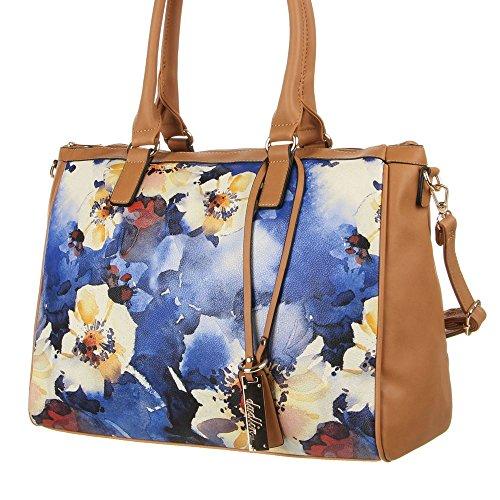 Damen Tasche, Große Umhängetasche Tragetasche, Kunstleder, TA-7035-290 Blau Braun