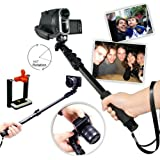 First2savvv ZP-188A01 black Self-portrait extendable telescopic handheld Pole Arm monopod Camcorder/Camera/mobile phone tripod mount adapter bundle for SAMSUNG NX200 NX100 NX1000 NX210 EX2F