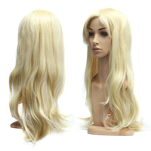 Perruque Frisée Ondulée 70 CM avec Frange Filet à Cheveux pour Soirée Déguisement Cosplay Femme -Dazone®-Blond Clair