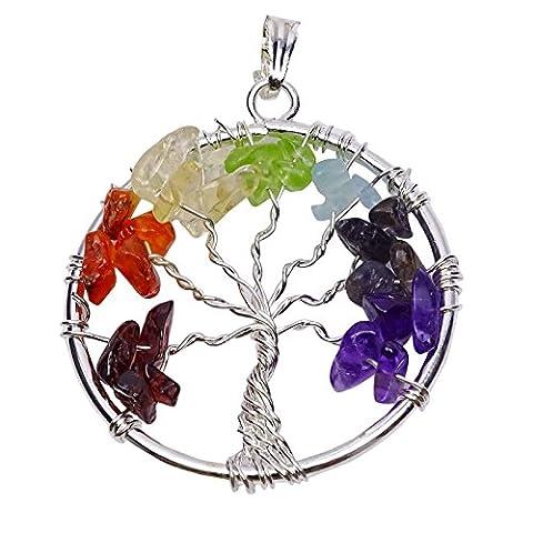 Harmonize Multistone 7 Chakra Tree Of Life Chips Reiki Healing Stone Gemstone Spiritual Pendant