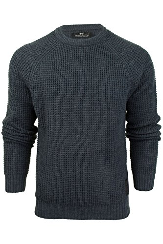 Herren-Rundhalsausschnitt-Jumper - Crosshatch 'General' Mood Indigo
