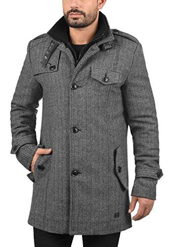 Indicode Brandan Herren Winter Mantel Wollmantel Lange Winterjacke mit Stehkragen, Größe:M, Farbe:Light Grey Mix (913) - 2