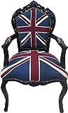 Casa Padrino Barock Esszimmer Stuhl mit Armlehnen Union Jack/Schwarz - Antik Stil Möbel