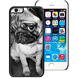 Funda de teléfono con carlino en blanco y negro para iPhone 6 (4.7) - PC/Negro, compatible con Apple iPhone 6