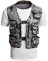 Zerdocean Men's 13 Pockets Mesh Breathable Camo Photography Fishing Cargo Vest Waistcoat