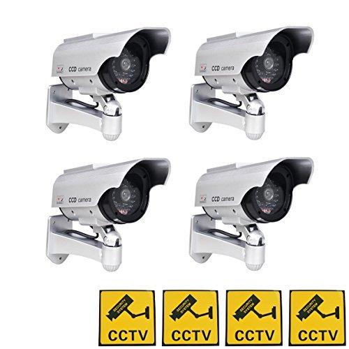 Phot-R 4X Solar Powered Draussen Innen Fälschung Nachahmung IR CCTV blinkende LED Blinklicht Überwachung Sicherheit Mini Speed Dome Dummy Attrappe Cam Kamera I mit Warnung Aufkleber - weiß
