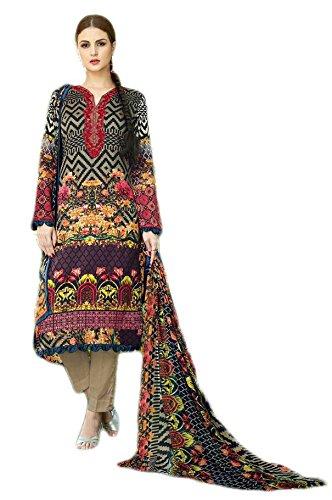 Anasha Fashions Pakistani Style Cotton Digital Print And Emberiordered Salwar Kameez