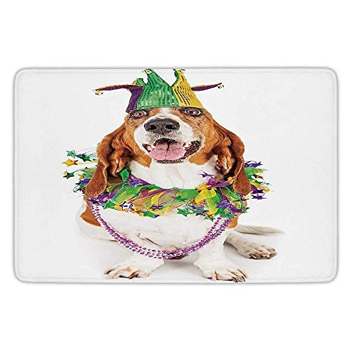 tchen Floor Mat Carpet,Mardi Gras,Happy Smiling Basset Hound Dog Wearing a Jester Hat Neck Garland Bead Necklace Decorative,Multicolor,Flannel Microfiber Non-Slip Soft Absorbent ()