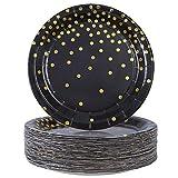 Elcoho 60 Stück schwarz Einweg-Pappteller Bräunungsteller Gold Dot Teller Partyzubehör für Abschlussfeier, Geburtstag, Hochzeit, Jahrestag, 18 cm