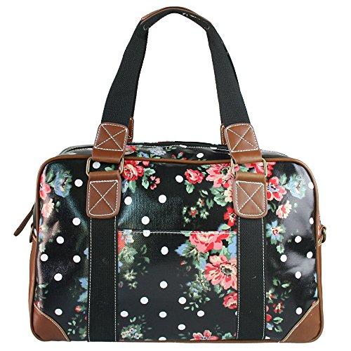 Miss Lulu , Damen Bowlingtasche Schwarz Flower Black