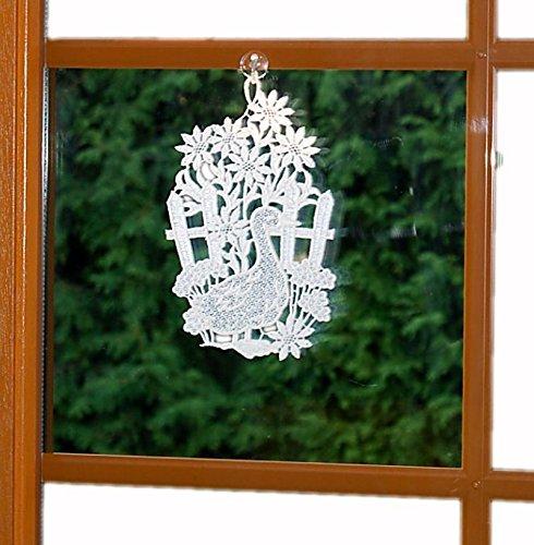 Fensterbild PLAUENER SPITZE Gans 15x25 cm + Saugnapf weiß Spitzenbild Ostern KÜCHE (Weiß)