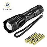 Vansky® Led Torch Pocket Torch 800 Lumen Cree XML2 T6 Adjustable Focus Tactical Flashlight Zoomable Led Light Water Resistant Camping Torch, 3 x AAA Batteries Included