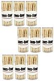 COM-FOUR® Zahnstocher aus Holz 65mm lang in Spender-Dose Set 9x